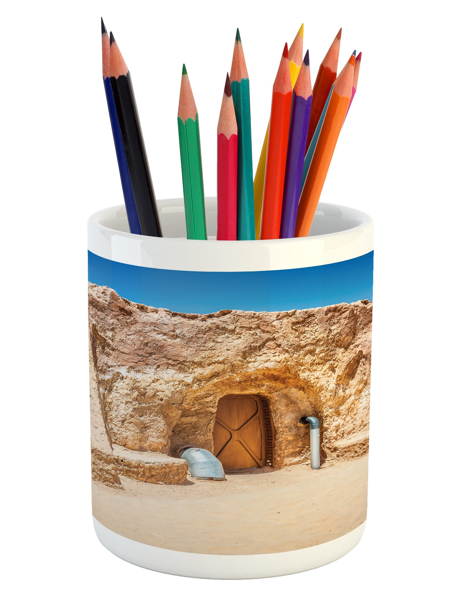 Ambesonne Galaxy Pencil Pen Holder, One of Abandoned Sets of Movie in Tunisia Desert Phantom Menace Galaxy Themed Image, Printed Ceramic Pencil Pen Holder for Desk Office Accessory, Brown Blue