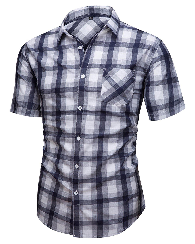Hanmor Men's Casual Cotton Short Sleeve Plaid Western Button Down Dress Shirts Blue Large