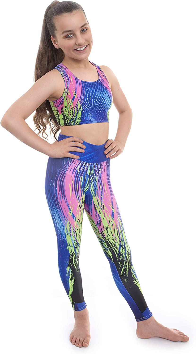 Kinetic By Velocity Pro Sport Crop Top And Leggings Set For Girls Ideal For Gym Workout Running Summer Casual Gymnastics Sportswear Yoga Clothes Amazon Co Uk Clothing