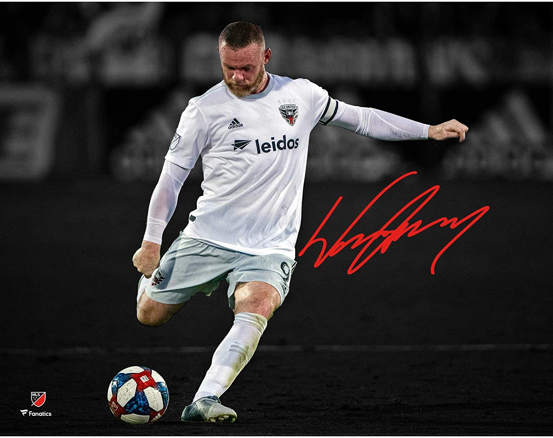 Fanatics Authentic Certified Wayne Rooney D.C United Autographed 11 x 14 White Jersey Kicking Spotlight Photograph