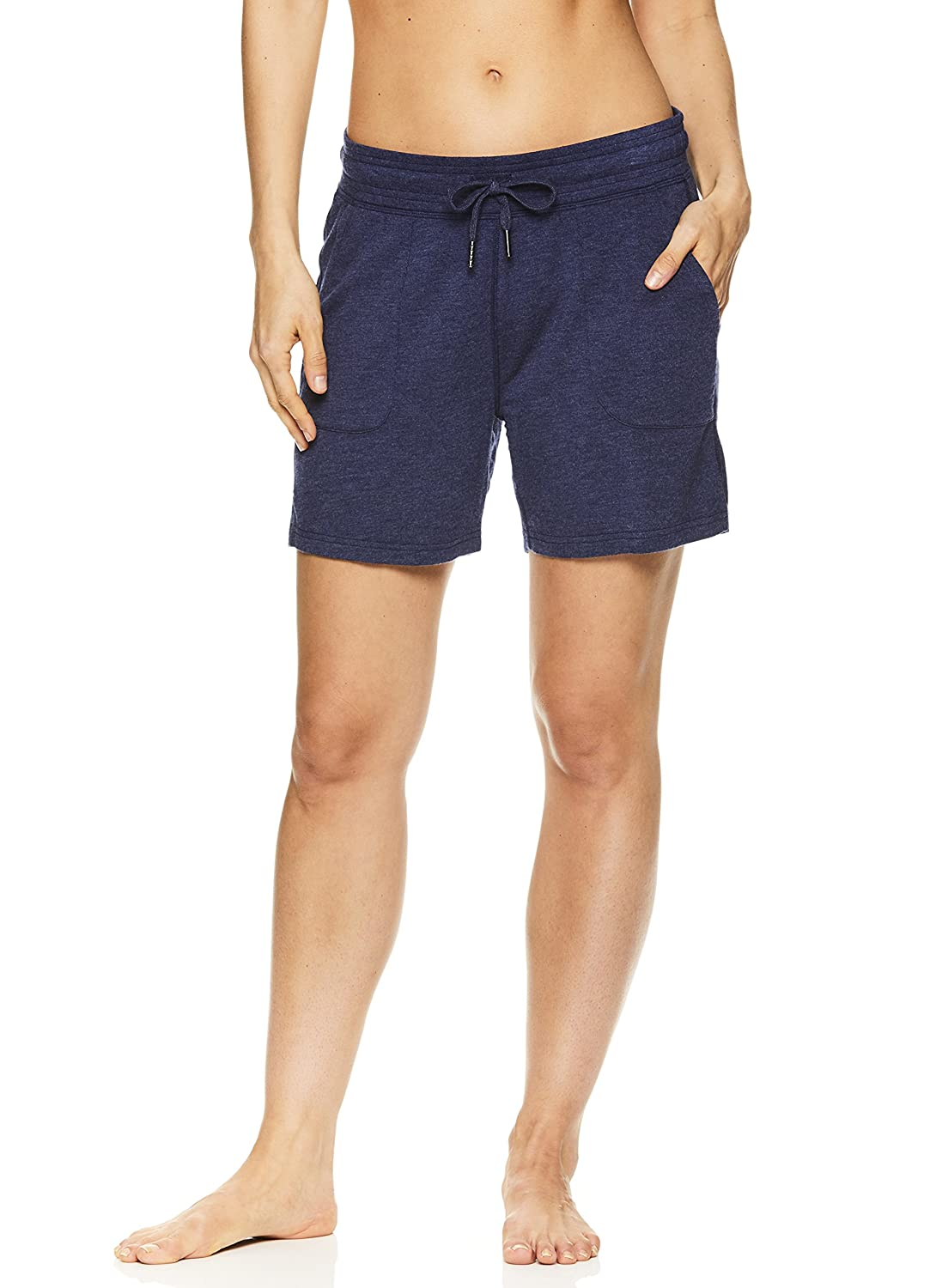 Gaiam Women's Warrior Yoga Short - Bike & Running Activewear Shorts w/Pockets - Medieval Blue Heather, X-Large GAW182SH04015