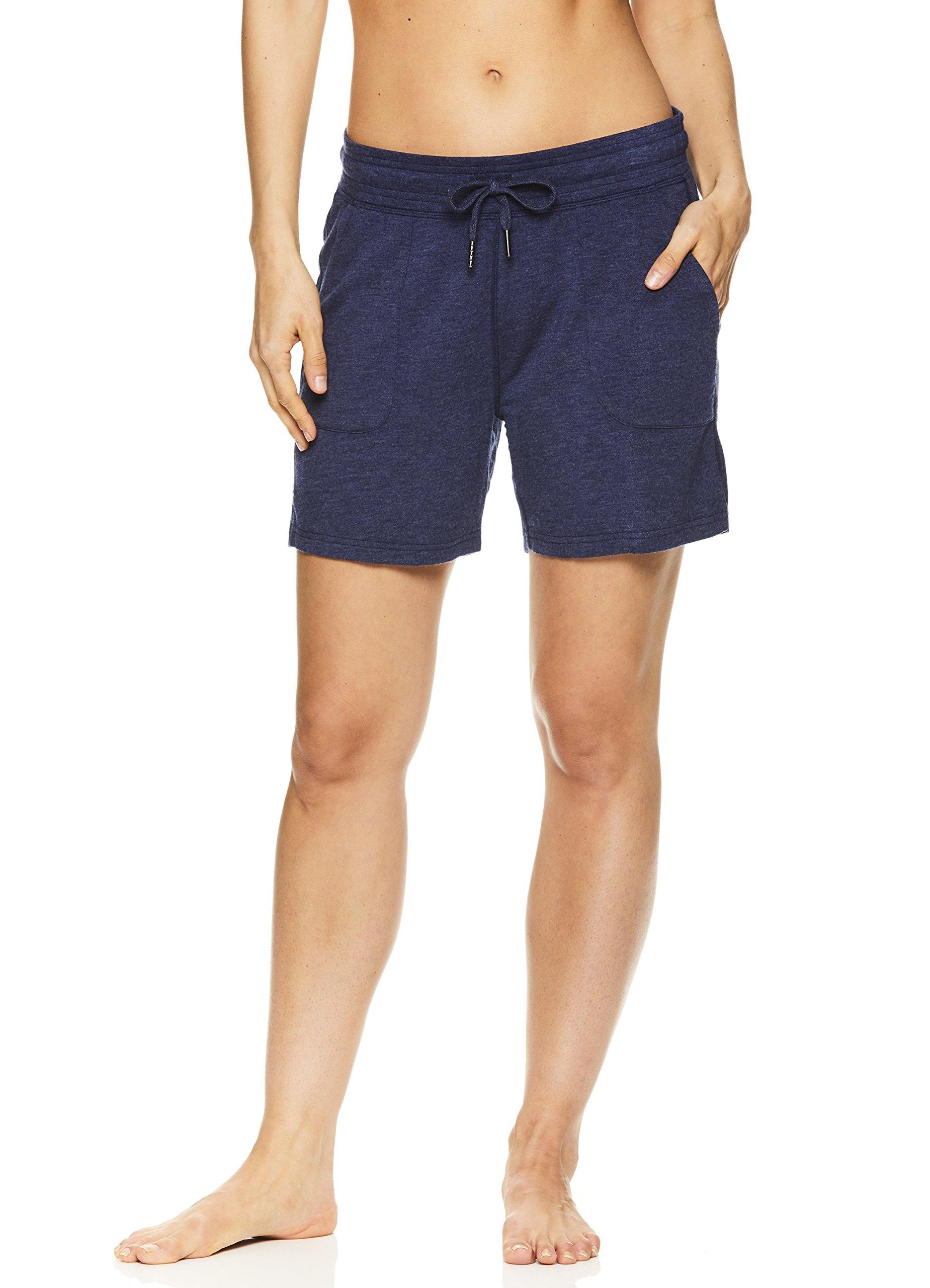 Gaiam Women's Warrior Yoga Short - Bike & Running Activewear Shorts w/Pockets - Medieval Blue Heather, 1X