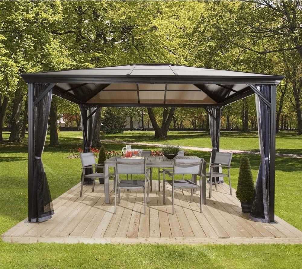 Techo para carpa de aluminio Gazebo Verona 10 x 10, con planchas de doble puente, 298 x 298cm (ancho x fondo), cenador con techo de doble puente de Sojag: Amazon.es: Jardín