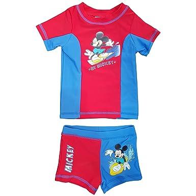 142e2f8f7f Kid Childrens Mickey Mouse Swim Suit Shorts and Top T Shirt Set Swimwear  Boys: Amazon.co.uk: Clothing