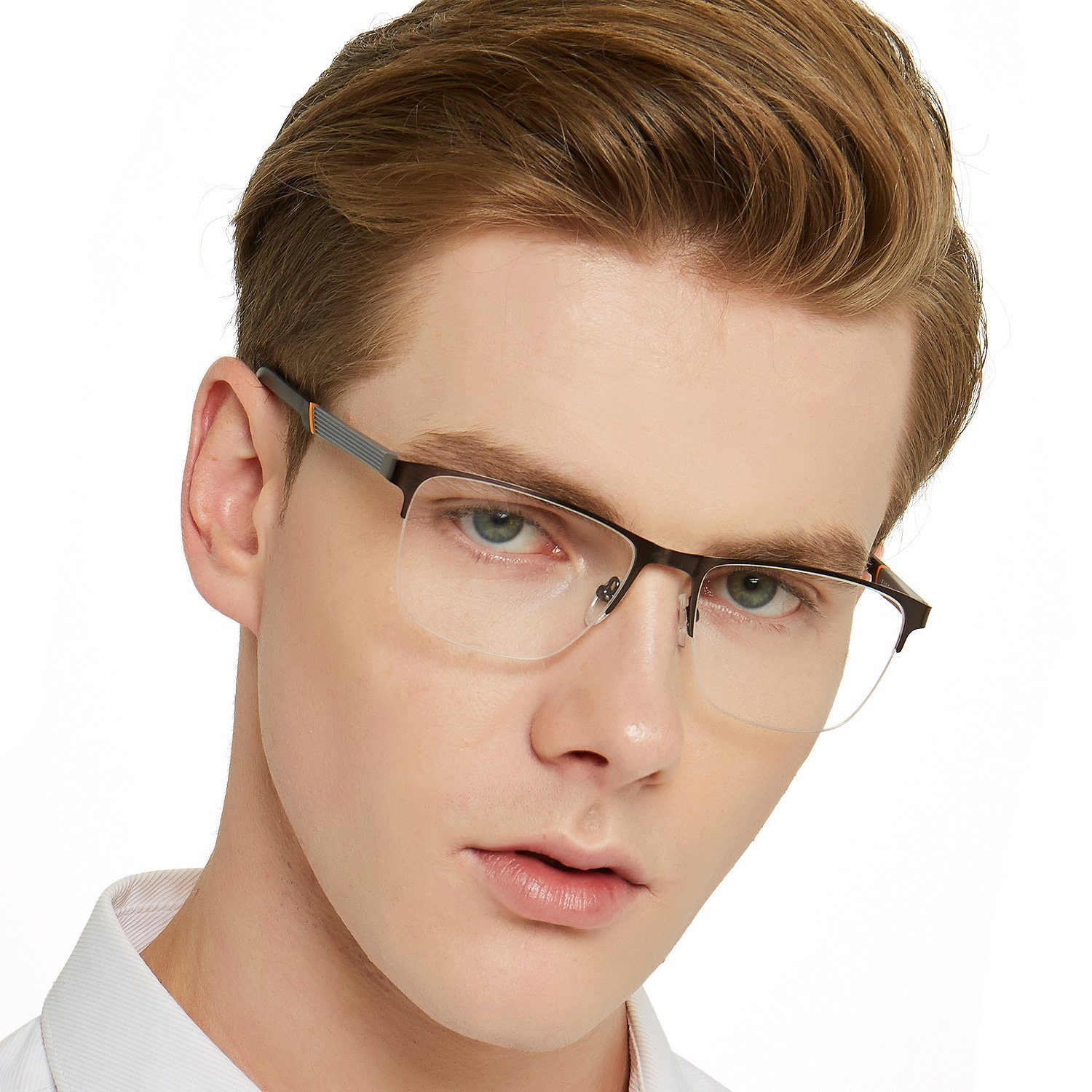 OCCI CHIARI Men Rectange Optical Eyewear frames With Non-Prescription Clear Lenses 54) OG-B05040-C5