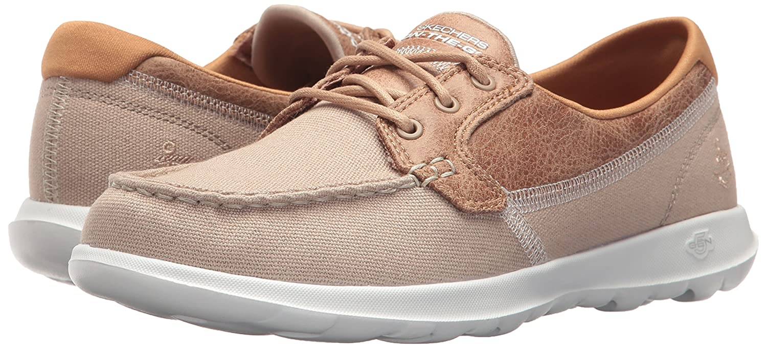 Skechers Women's Go Walk Lite-15430 Boat Shoe B071KLKWZS 6.5 B(M) US|Natural