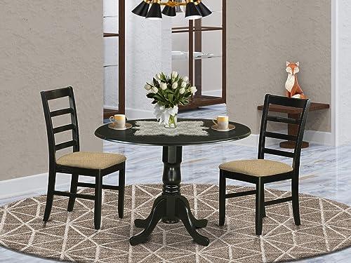 East West Furniture DLPF3-BLK-C Dining Room Set