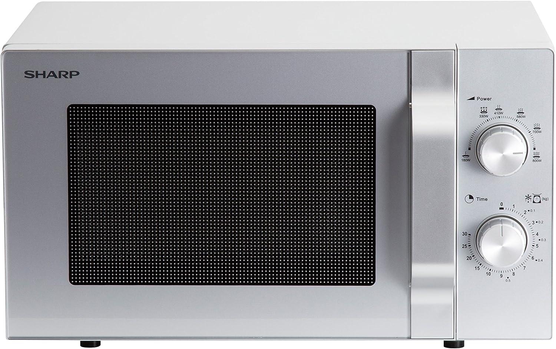 Sharp R204S - Microondas (20 L, 800 W, 6 niveles de potencia, temporizador de 30 minutos a 00 segundos, descongelación controlada por peso, plato giratorio de cristal de 24,5 cm), color plateado