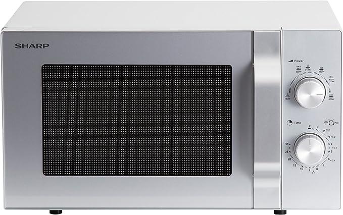 Opinión sobre Sharp R204S - Microondas solo, 20 L, 800 W, 6 niveles de potencia, temporizador de 30 minutos a 00 segundos, descongelación controlada por peso, plato giratorio de cristal (24,5 cm), color plateado