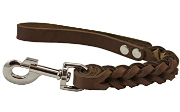 Brown Leather Braided Dog Short Traffic Leash 12
