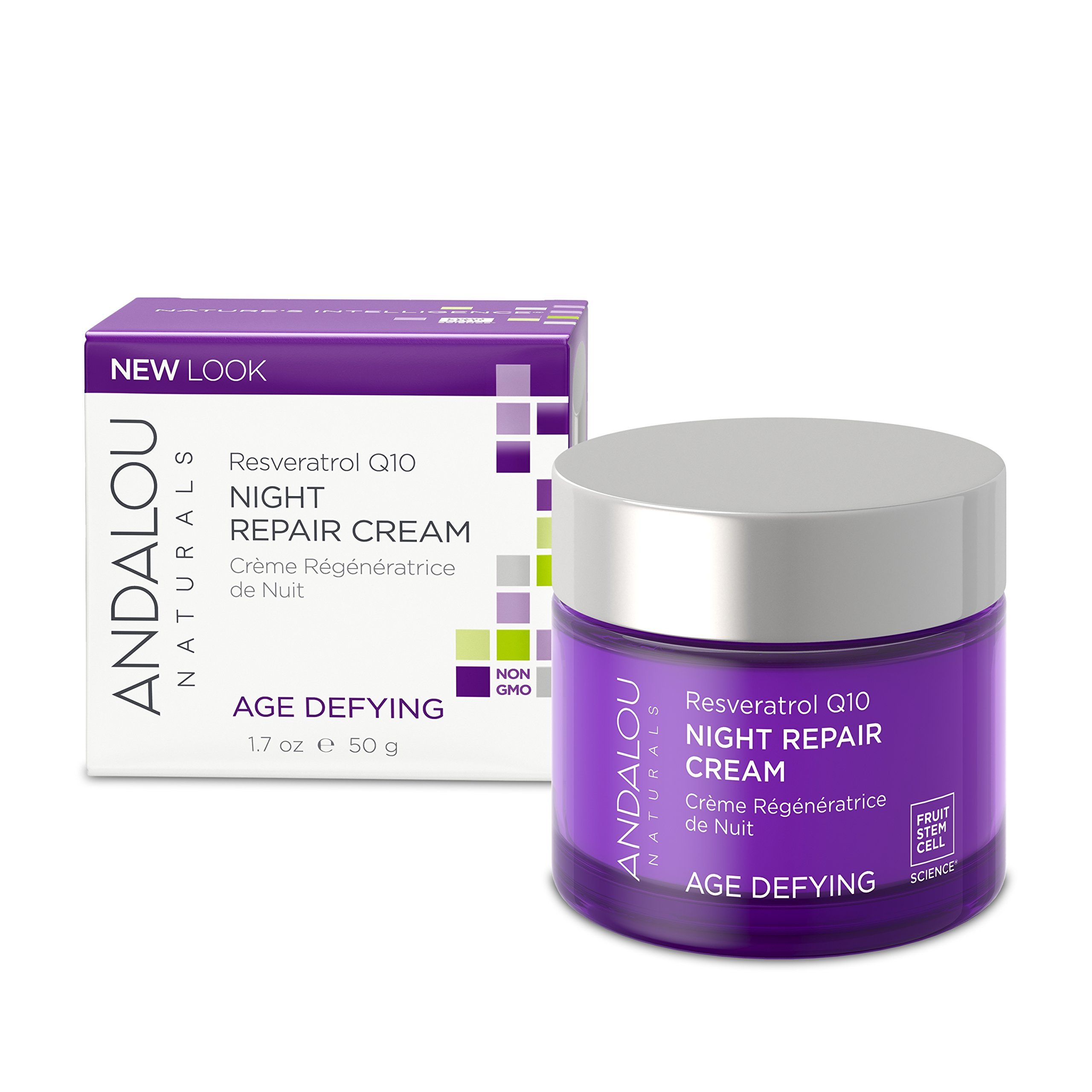 Andalou Naturals Resveratrol Q10 Night Repair Cream, 1.7 oz, For Dry Skin, Fine Lines & Wrinkles, For Softer, Smoother, Younger Looking Skin by Andalou Naturals