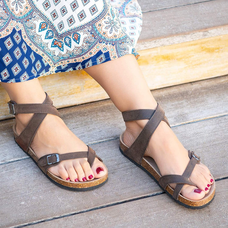 Cloudqi Women Fashion Buckle Flat Causal Beach Shoes Slippers Simple Sandals