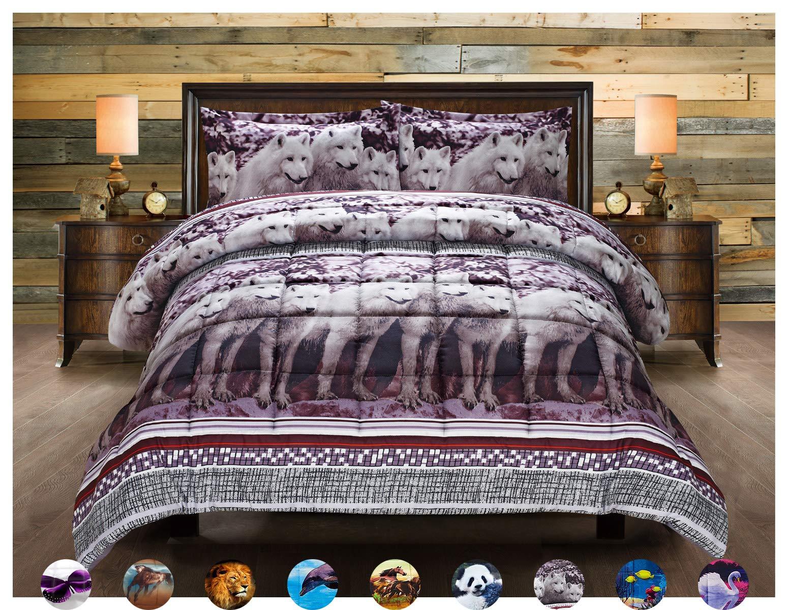 HUAJIE 3 Piece Set Beautiful Soft 3d Print Vivid Animals Pattern Box Stitched Comforter Set (1 Comforter,2 Pillowcase) (Queen, Mountain Wolf)