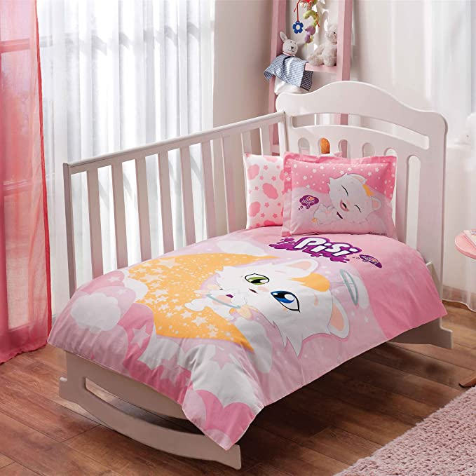 100/% Organic Cotton Soft and Healthy Baby Crib Bed Duvet Cover Set 4 Pieces Sponge Bob Bubble Baby Bedding Set