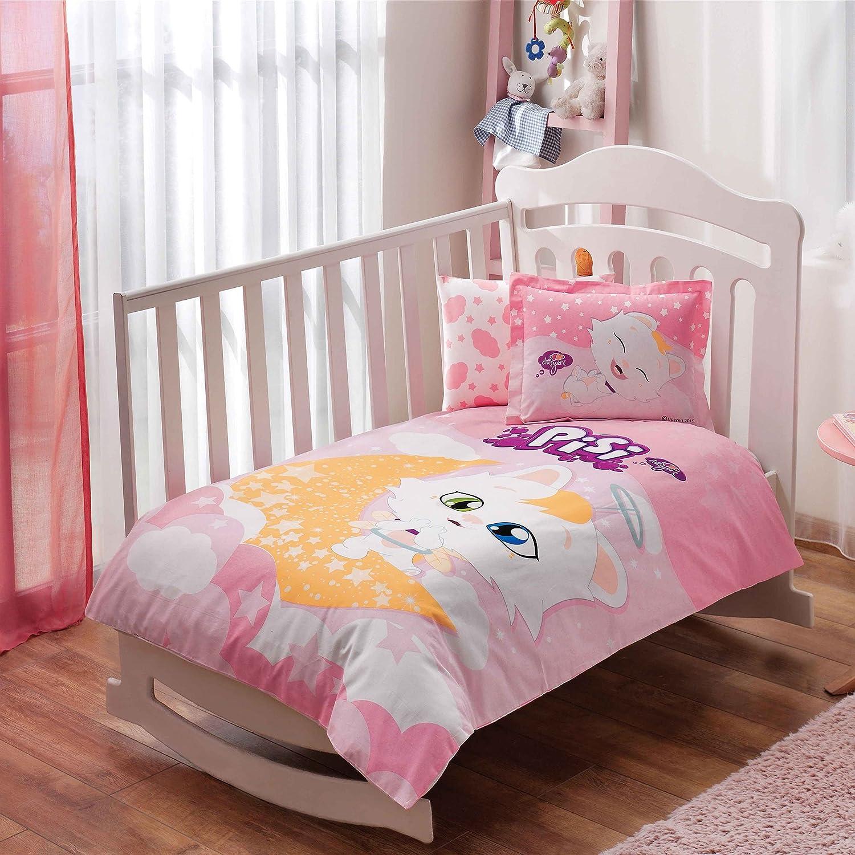100% Bio-Baumwolle Weich und gesund Baby fü r Kinderbett, Bettbezug Set 4 Stü ck, PISI Katze Offiziell Lizenz-Bettwä sche TAC