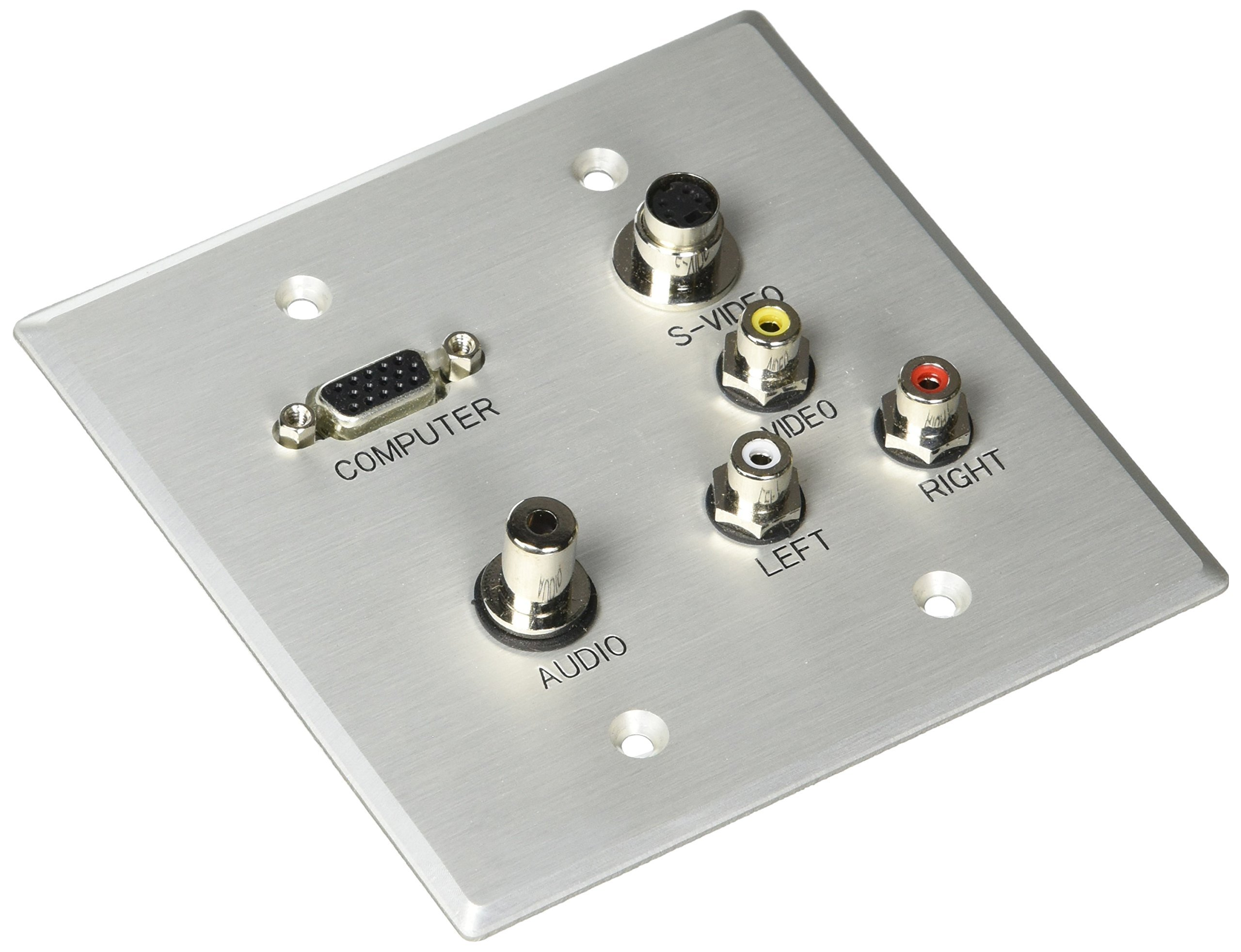 C2G 40507 VGA, 3.5mm Audio, S-Video, Composite Video and RCA Stereo Pass Through Double Gang Wall Plate, Brushed Aluminum