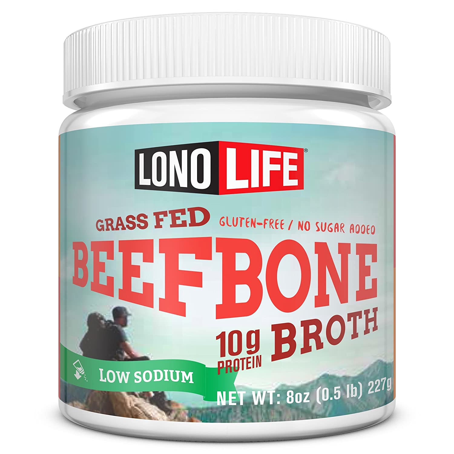 LonoLife Low-Sodium Grass-Fed Beef Bone Broth Powder with 10g Protein, Paleo and Keto Friendly, 8-Ounce Bulk Container