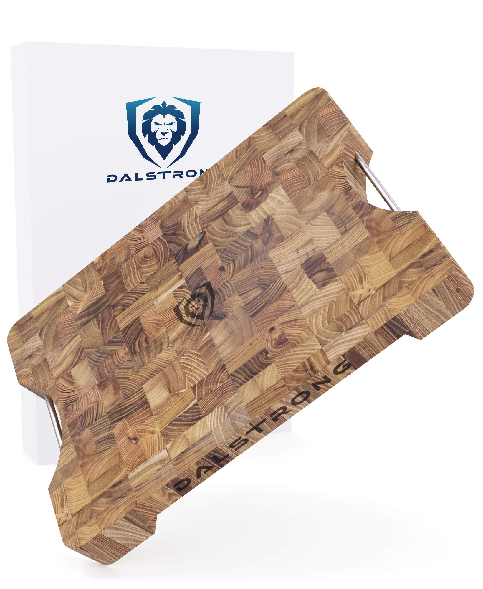DALSTRONG Lionswood End-Grain Teak Cutting Board - Medium - w/Steel Carrying Handles 15.8'' x 11.8'' x 1.9'' - Gift Packaging by Dalstrong