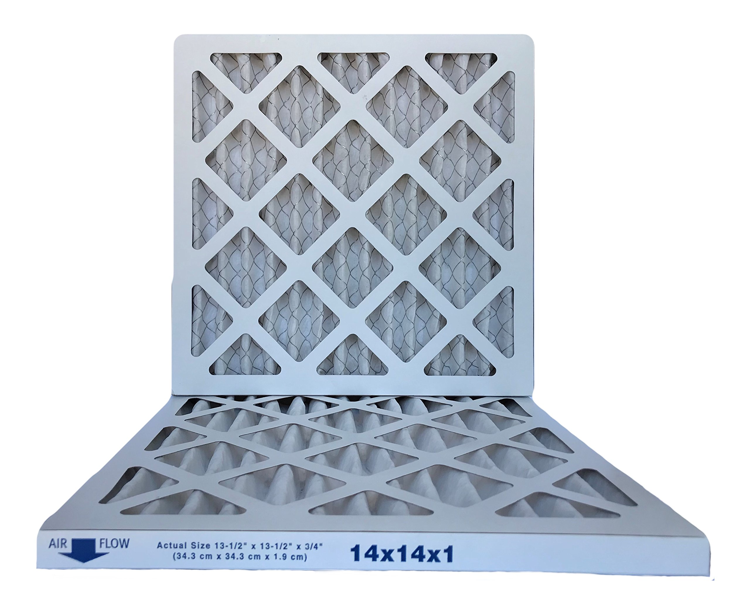 Filterene 14x14x1 Air Filter, MERV 8, MPR 600, Pleated AC Furnace Air Filter, (Pack of 2) Filters, USA Manufactured