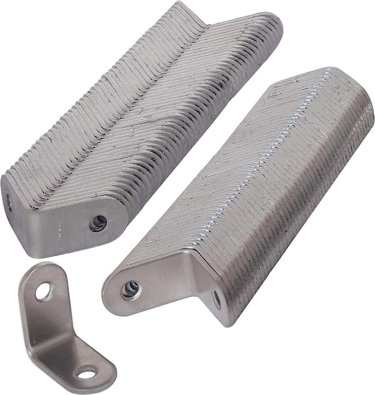 "WEBI 100 Packs L Brackets Corner Bracket,90 Degree Stainless Steel Corner Brace- 1.2"" L X 1.2"" W,Heavy Duty- Shelf Brackets Right Angle Bracket for Shelf, Wood, Furniture, Shelves,Brush Nickel"