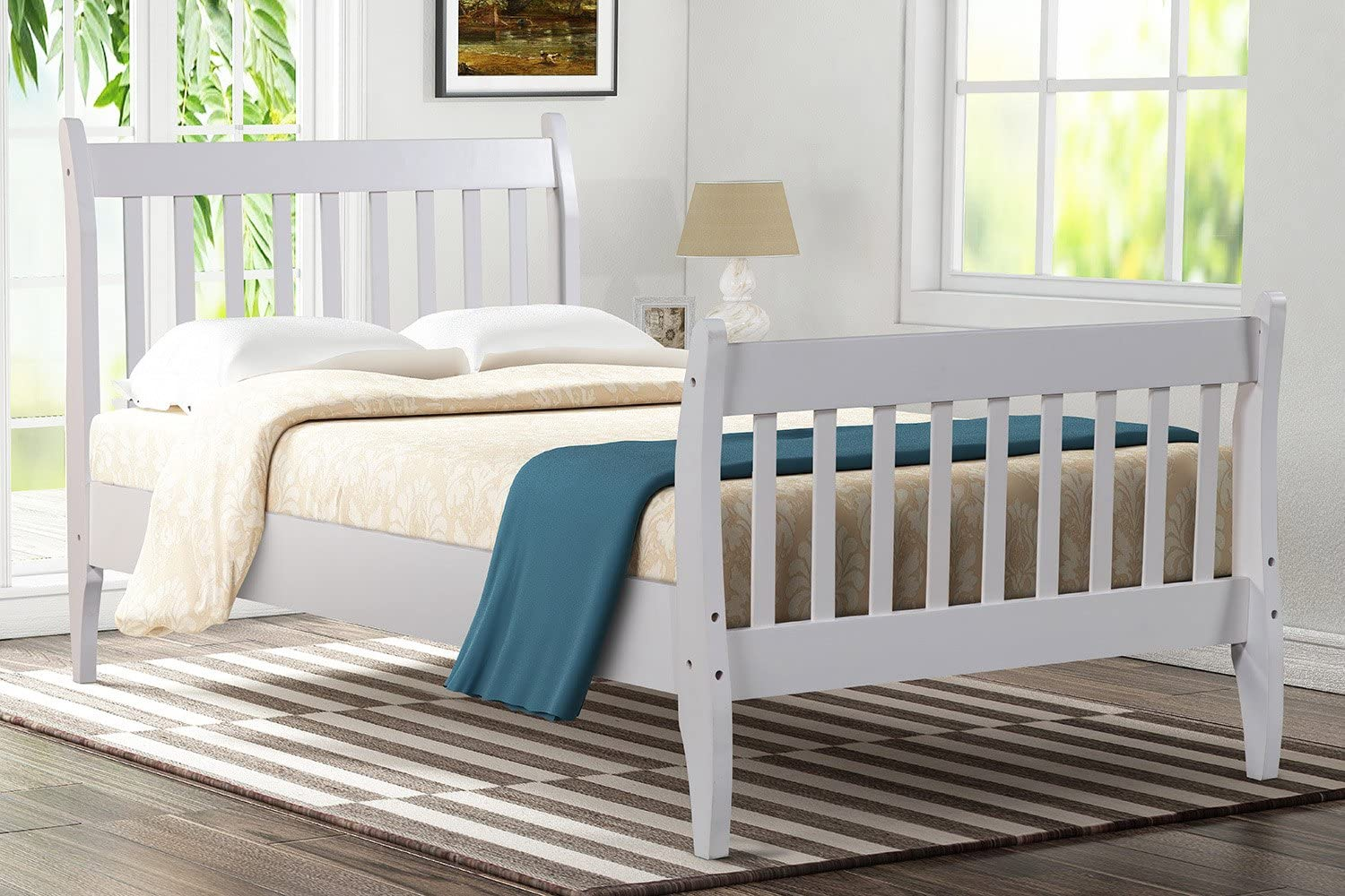 LZ LEISURE ZONE Twin Bed Frame Platform Mattress Foundation with Solid Wood Slat Support White, Twin