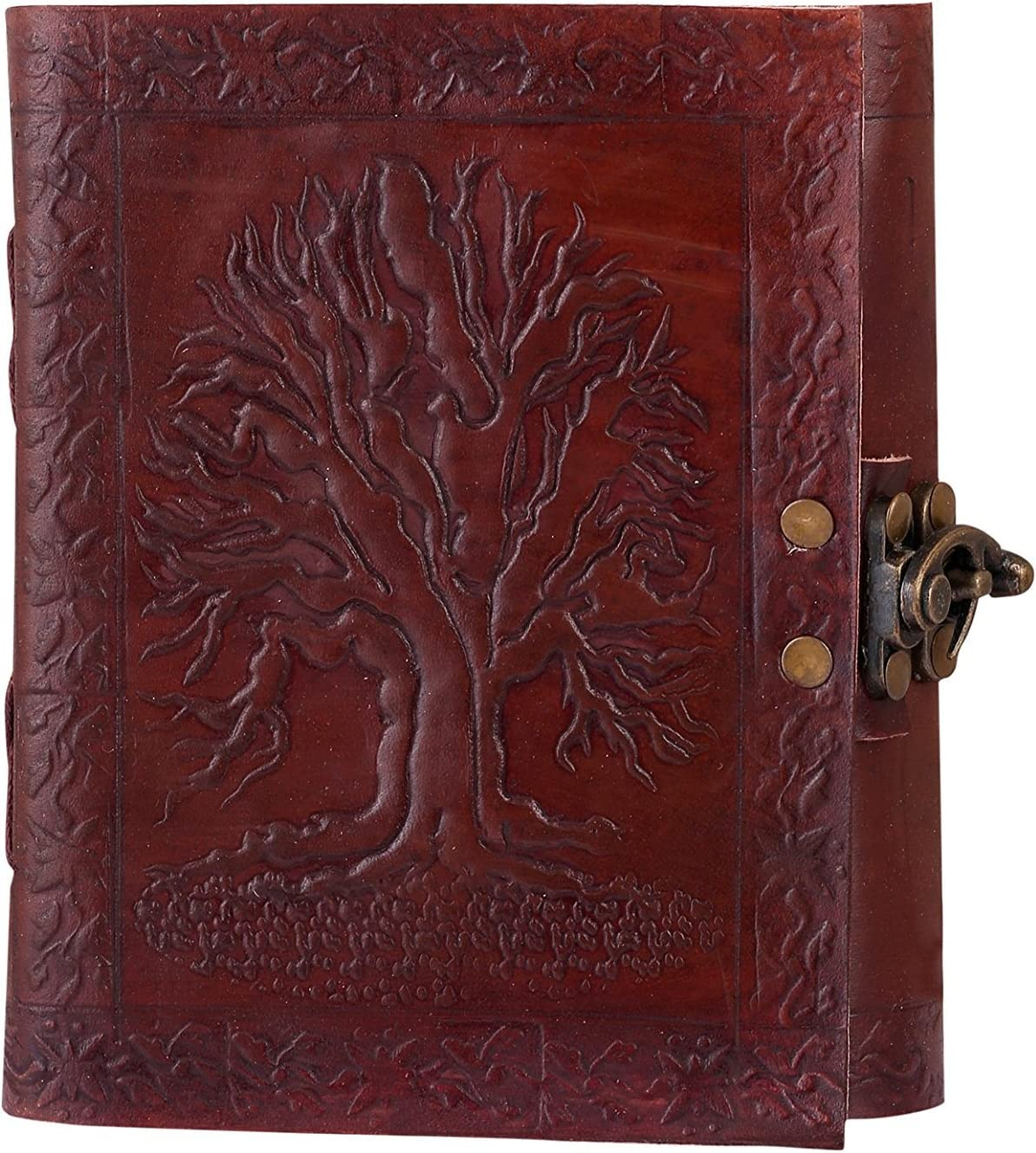 Skorzany Werke Tree of Life - Cuaderno de notas hecho a mano de piel marrón, con correa, recargable, regalo