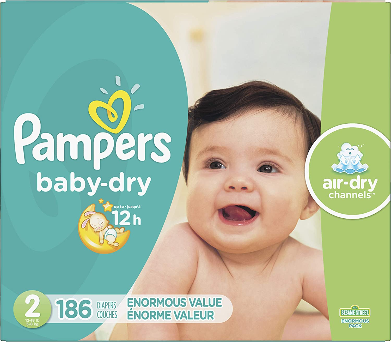 Diapers Size 2, 186 Count - Pampers Baby Dry Disposable Baby Diapers, Enormous Pack