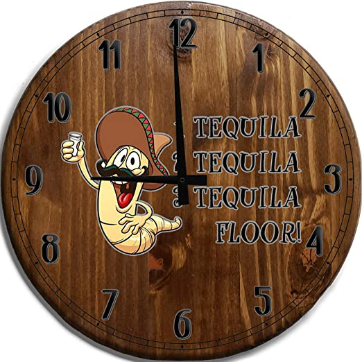 Amazon Com Tba Wall Clock Large Tequila Worm Bottle Mexican Bar Sign Home Decor Brown 18 Inch Wall Decor Home Kitchen
