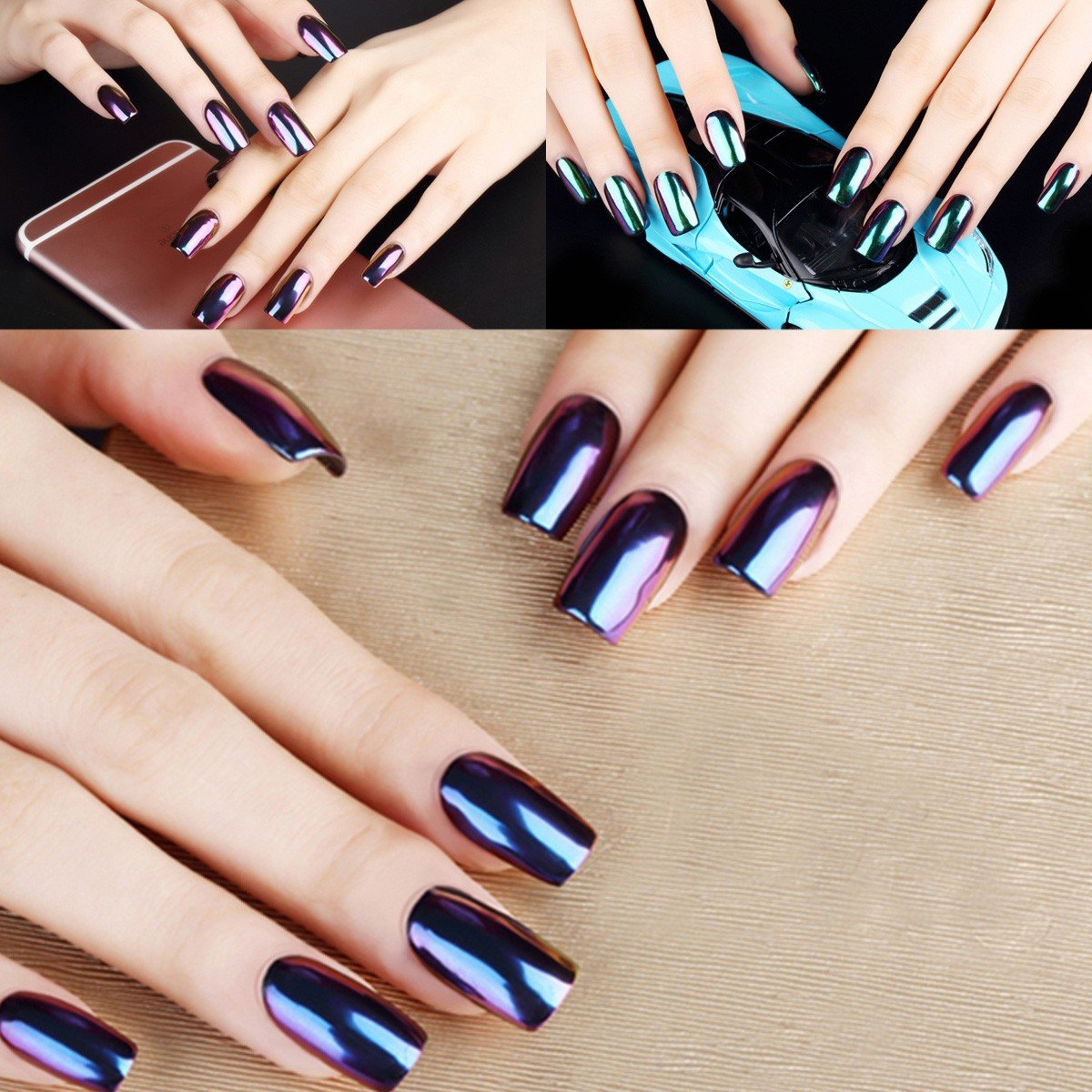 Amazon.com : DANCINGNAIL 12 Colors Magic Mirror Chrome Effect ...