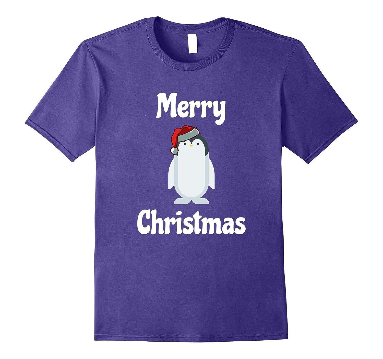 Cute Penguin Santa Christmas Xmas Holiday T-Shirt-ANZ