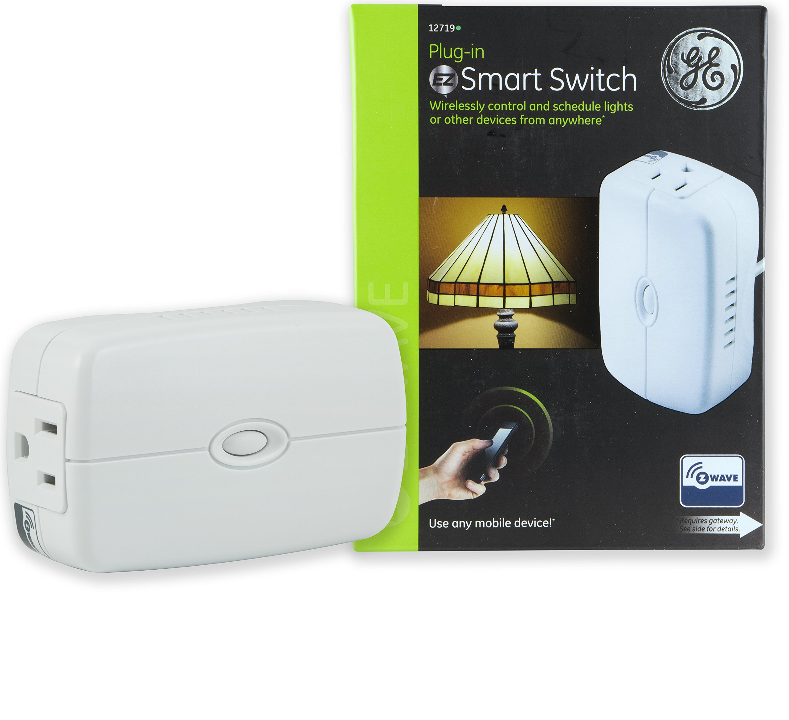 GE Z-Wave Wireless Smart Lighting Control Appliance Module, On/Off, Plug-In, White, (Hub Required), 12719, Works with Alexa