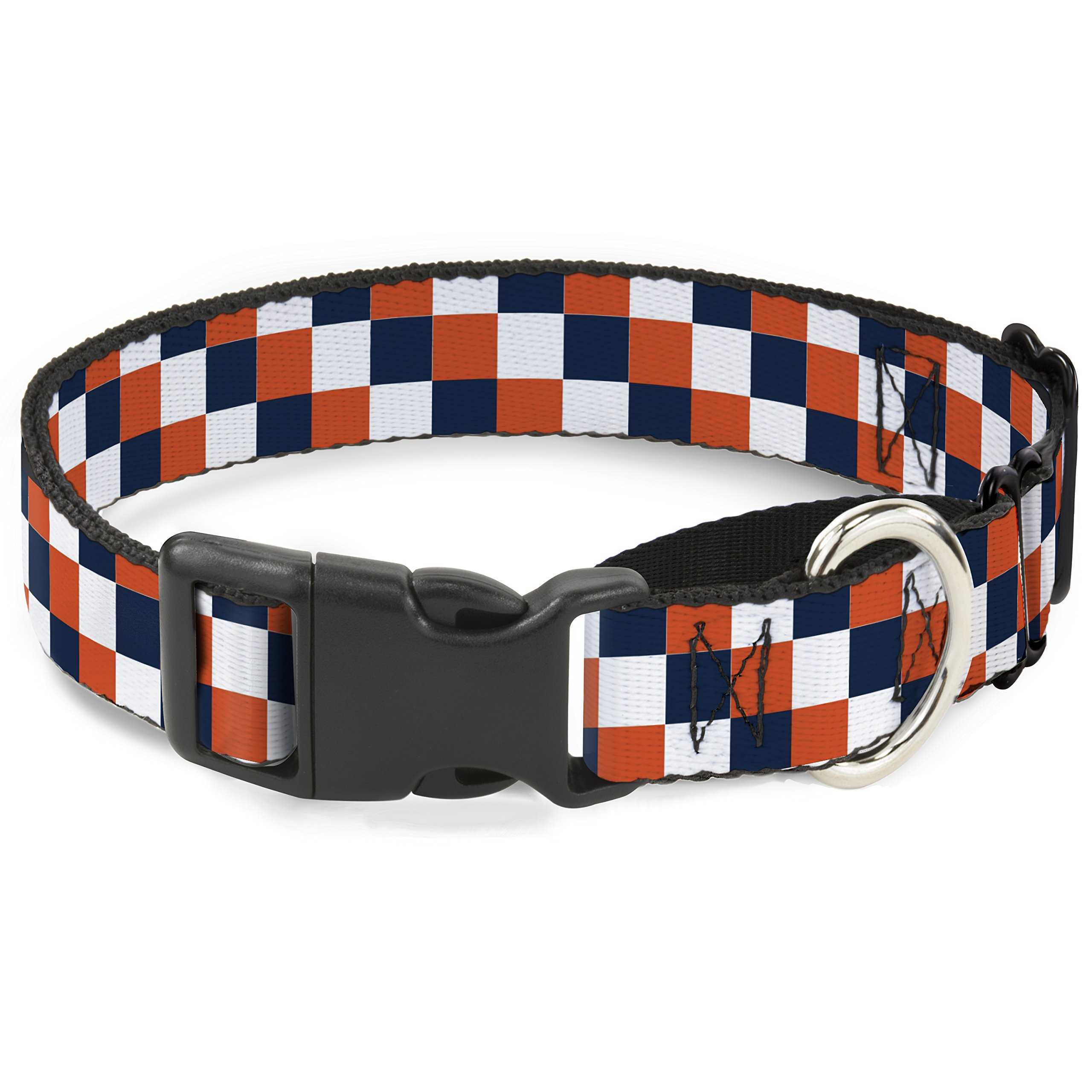 Buckle-Down Checker Navy/Orange/White Martingale Dog Collar, 1.5'' Wide-Fits 16-23'' Neck-Medium