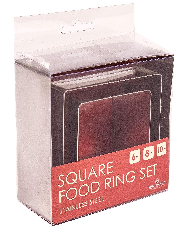 6//8//10/cm Grunwerg 3/Piece set anello in acciaio INOX/ /dessert//food presentazione quadrato stampo anelli