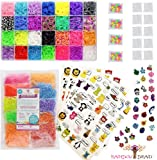 12,420pc Premium Rainbow Braid Loom Bands Mega Refill Kit with 38 Bright Colors, 11,400 Rubber Bands, 700 Clips, 200 Beads, 30 Charms and 120 Collectible Animal Stickers