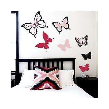 MARIPOSA Conjunto de 6 Mobiliario Muro Plantillas para pintar - Pequeño: Amazon.es: Bricolaje y herramientas