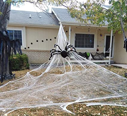 Amazon Com Halloween Giant Spider Web Outdoor Yard Scary