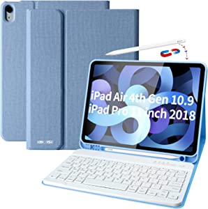 iPad Air 4th Generation Case with Keyboard iPad 10.9 2020 Keyboard Case with Pencil Holder Bluetooth Keyboard Cover Case for iPad 11 Pro 2020, iPad Air 4 Gen, Slim Keyboard Case