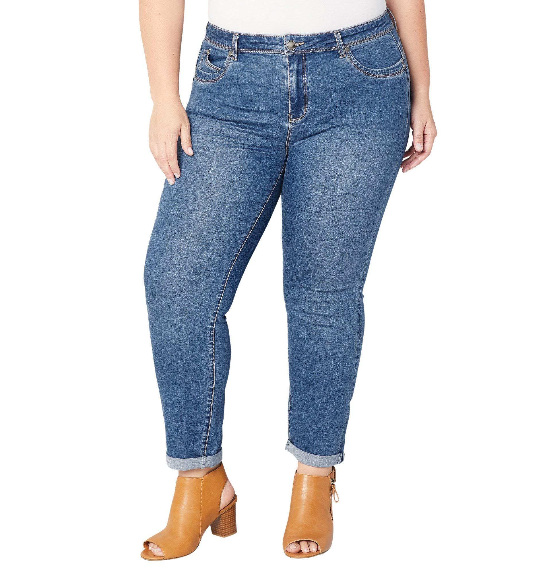 Avenue Women's Mini Roll Wanna Betta Butt Skinny Jean in Medium Wash, 20 Medium Wash
