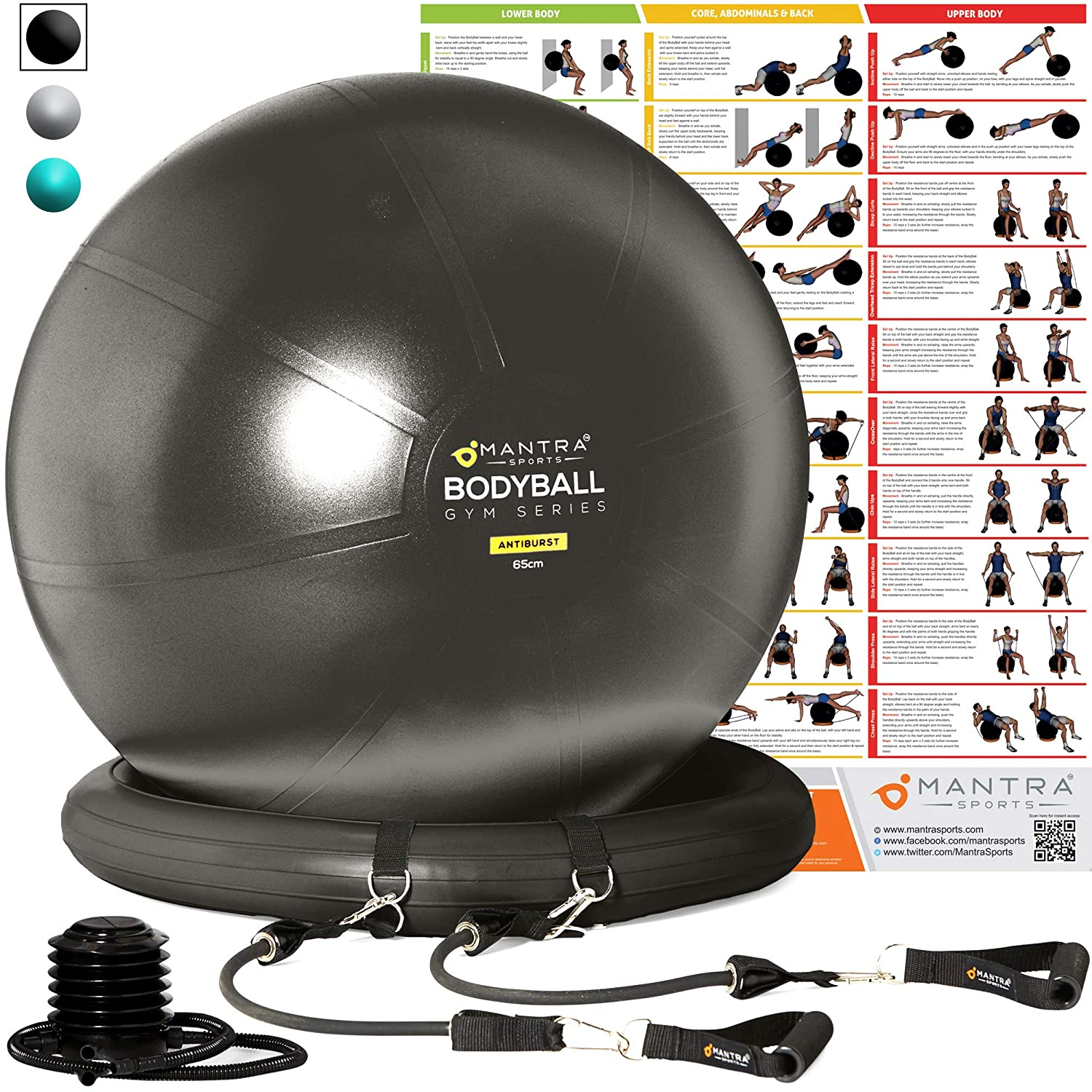 Exercise Ball Chair – 65cm 75cm Yoga Fitness Pilates Ball Stability Base for Home Gym Office – Resistance Bands, Workout Poster Pump. Improves Balance, Core Strength Posture – Men Women