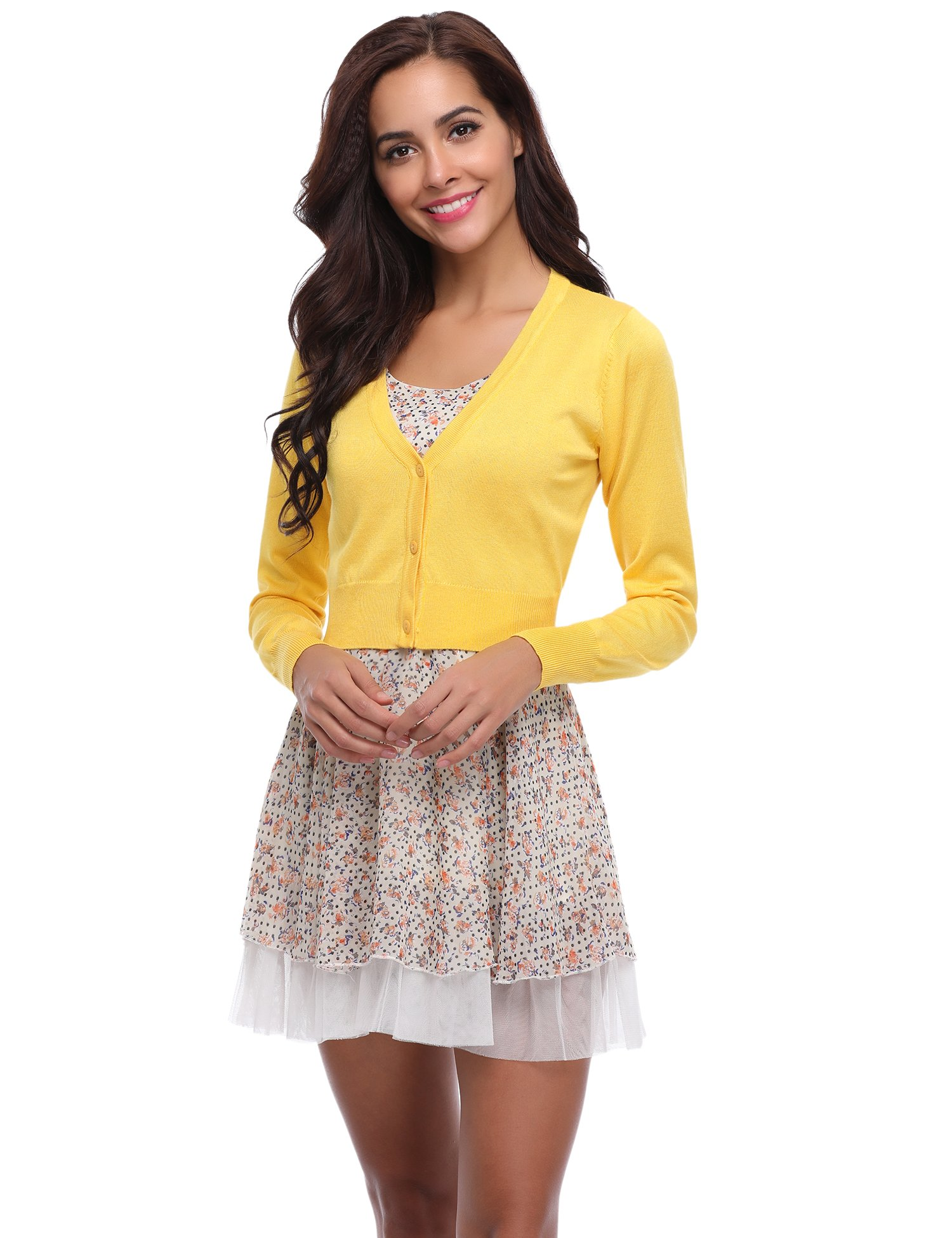 Abollria Women Solid Button Down Long Sleeve Cropped Bolero Cardigan (Yellow,M)