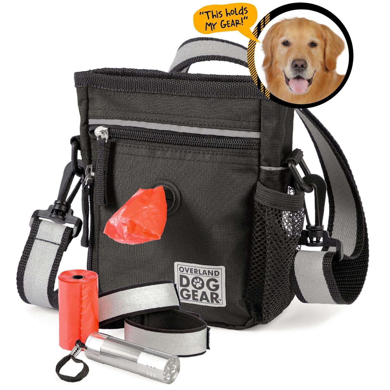 Reflective Dog Walking Bag - Night or Day Travel Bag Set for Dog Walks (Black)