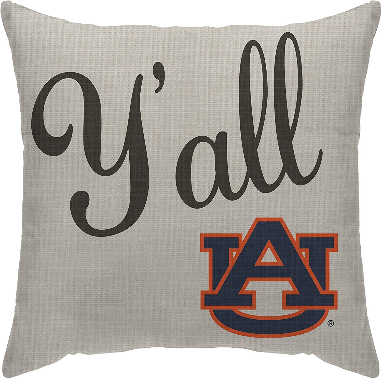 Pegasus Sports NCAA Team Yall Decorative Throw Pillow Auburn Tigers