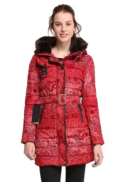 Desigual - Abrigo de manga larga para mujer, color rojo 3007, talla 36: Amazon.es: Ropa y accesorios