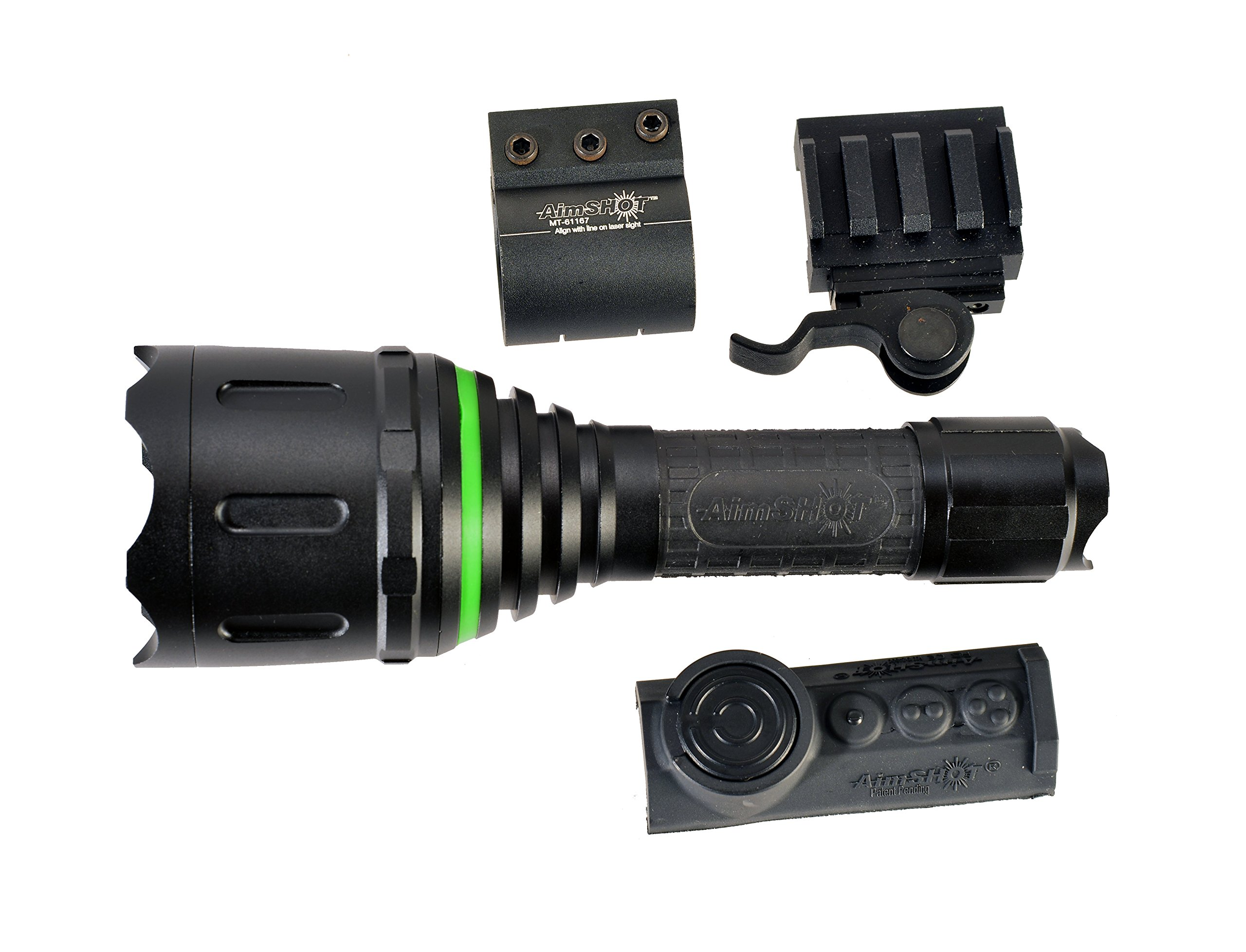 Aimshot TZ980-GR Adjustable Beam Wireless Green Flashlight Kit, Black