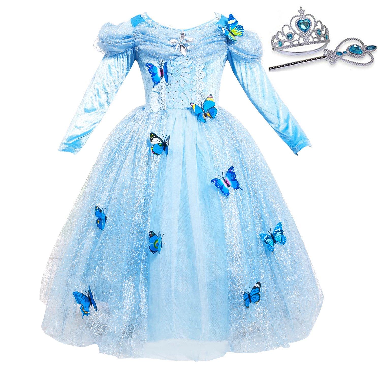 プリンセス シンデレラ カスタム コスプレドレス 蝶 ハロウィン クリスマスパーティー 王冠付き X-Large ブルー01 B07HGM3GHG