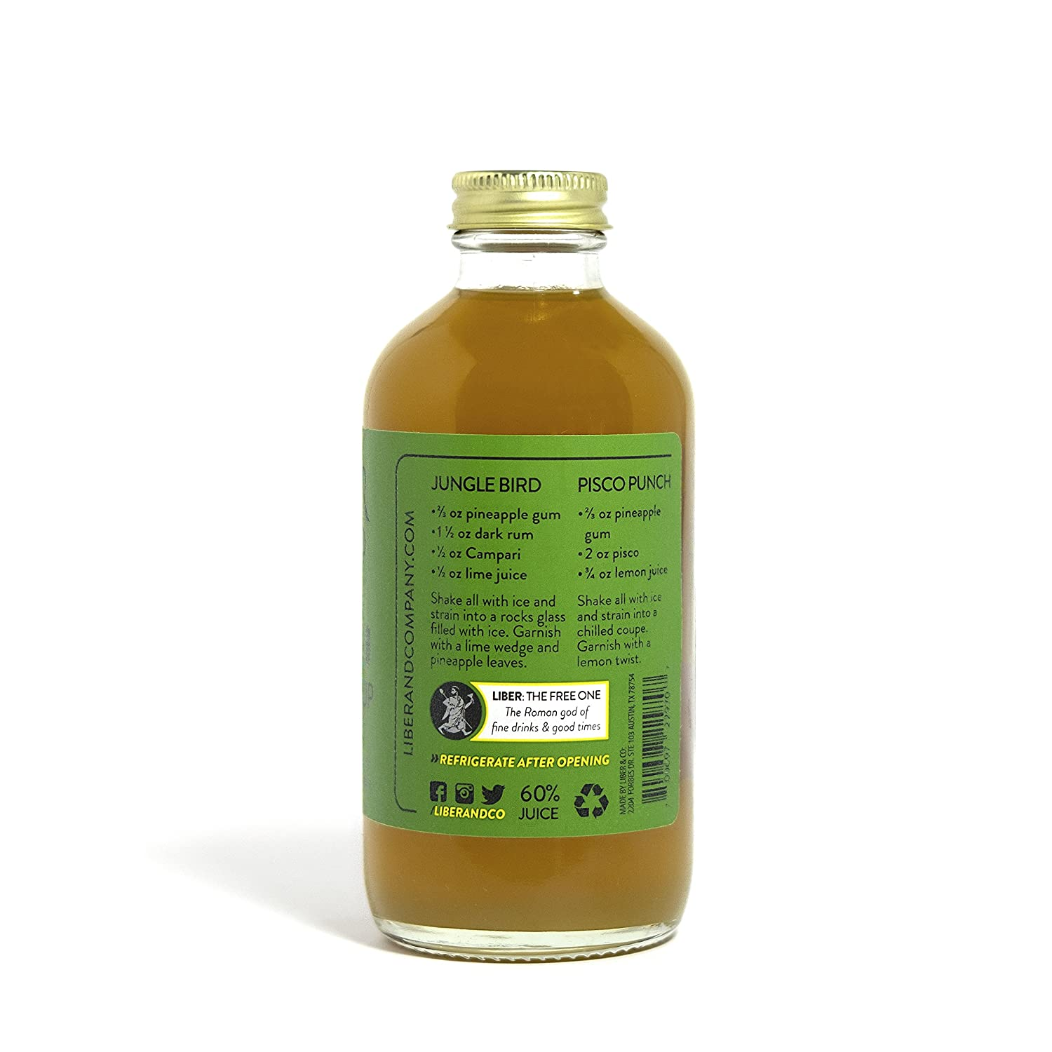 Amazon.com : liber & co. pineapple gum syrup (17oz) : grocery ...
