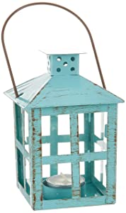 Kate Aspen 14130BL Vintage Distressed Lantern, medium, Blue