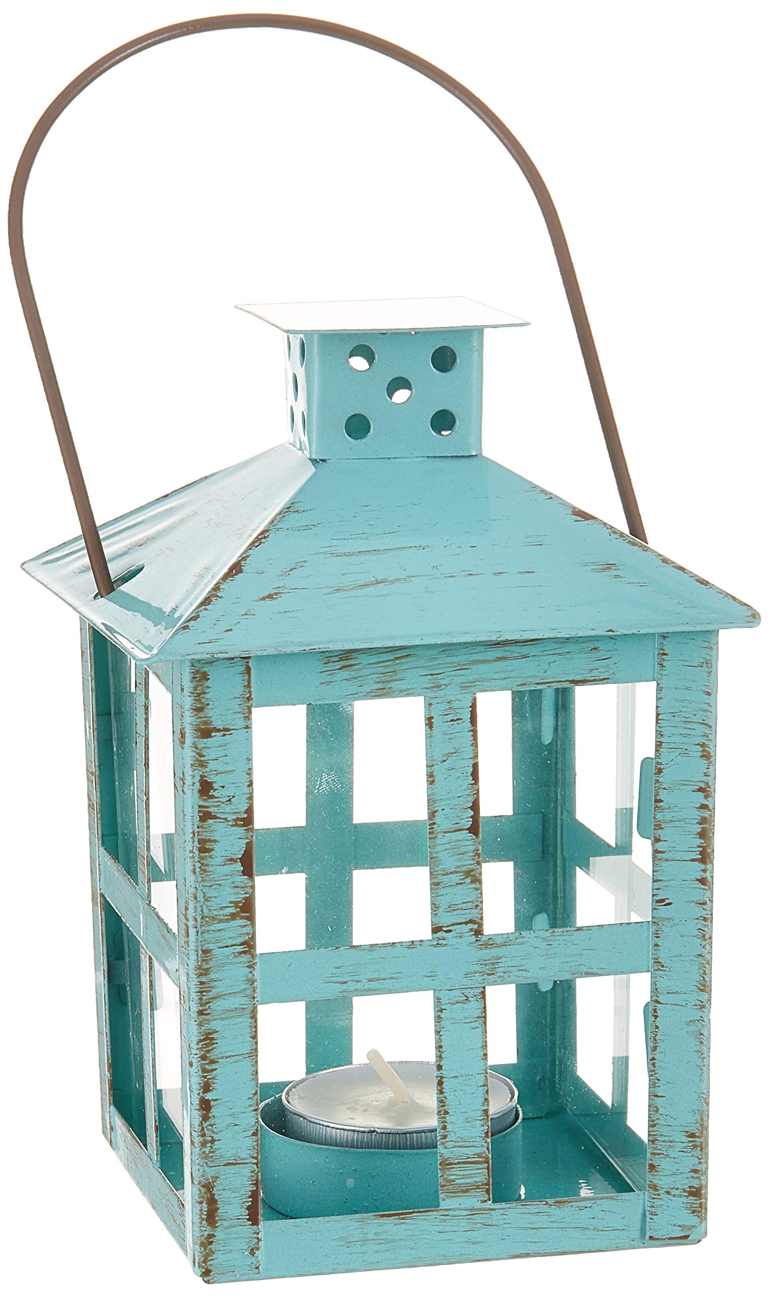 Kate Aspen Vintage Distressed Lantern, Medium, Blue by Kate Aspen