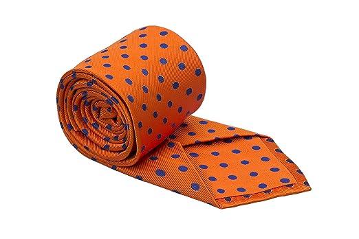 Cravate - Orange, Pleine D'entrain, Tissage Nervuré À Pois Bleu Cran