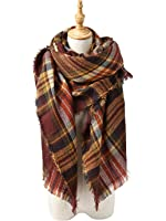 Women's Cozy Soft Plaid Scarf Fall Winter Casual Warm Large Thick Tartan Blanket Scarves Wrap Shawl